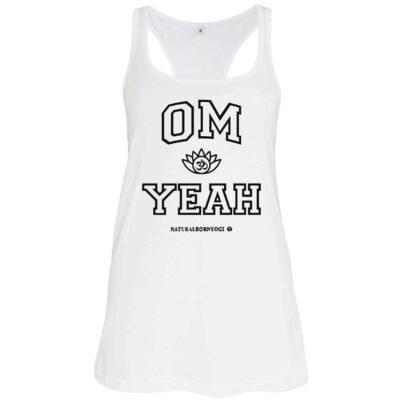 Weisse Om Yeah Tank Shirt für Damen.