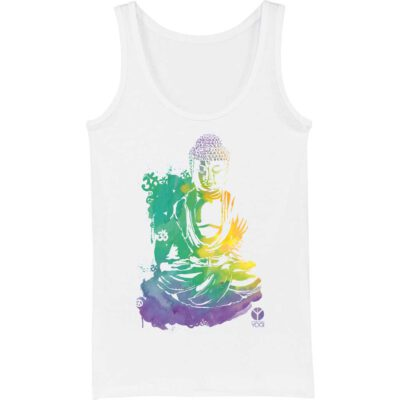 aquarell buddha motiv auf weissem yoga tank top