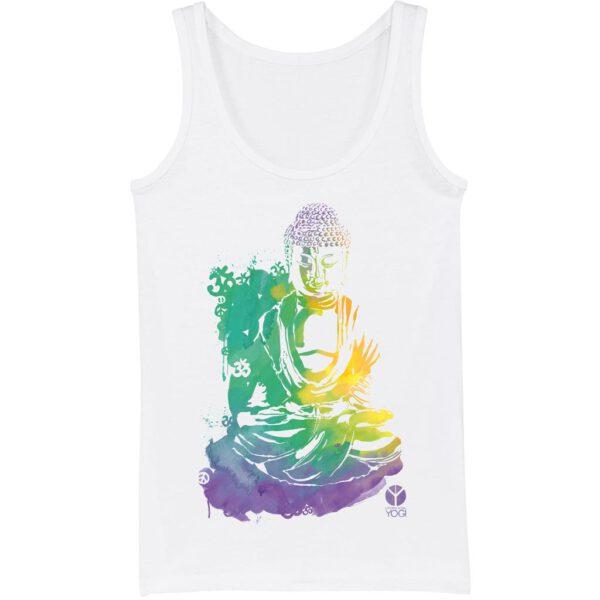 Weißes Yoga Tank Shirt mit Aquarellaufdruck eines Buddhas von Natural Born Yogi.