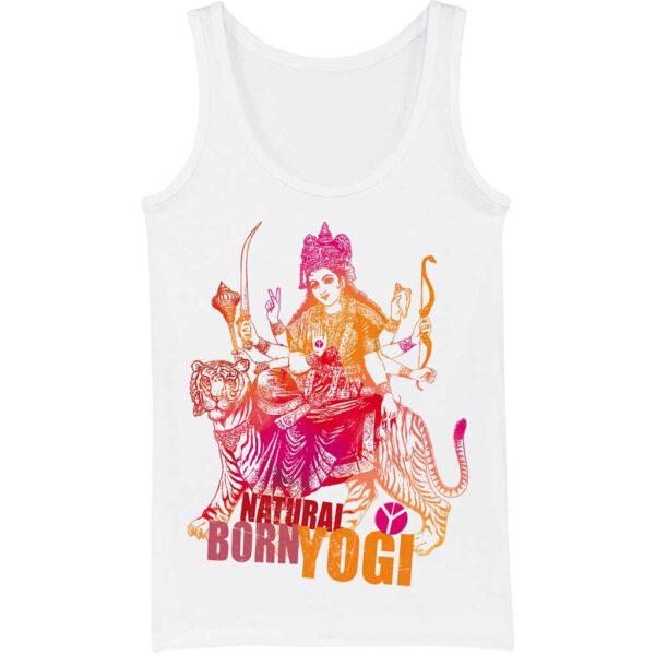 Weisse Yoga Tanktop mit Aufdruck der indischen Göttin Durga von Natural Born Yogi.