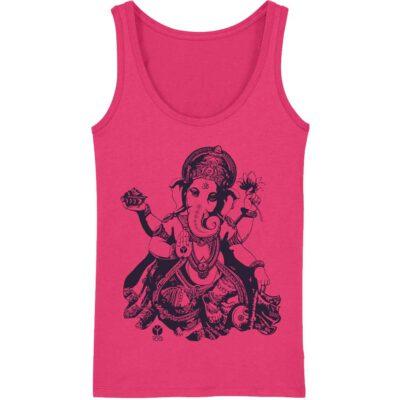 Pinkes Ganesha Yoga Tank für Damen aus nachhaltiger Bio Baumwolle und fairer Herstellung.