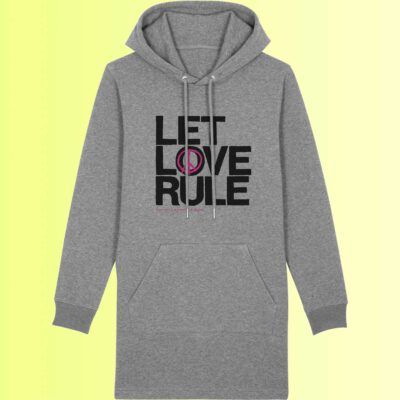 yoga long hoodie in grau mit love aufdruck