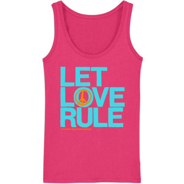 yoga tank top pink mit let love rule aufdruck in türkis