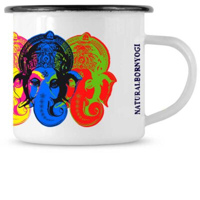 Weiße Tasse mit Ganesha Motiv im Pop Art Style.