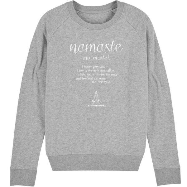 Graues Sweatshirt mit Yoga Aufdruck Namaste.