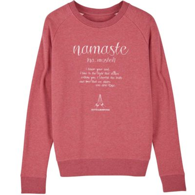 Yoga Sweatshirt mit Namaste Love Aufdruck in rot.