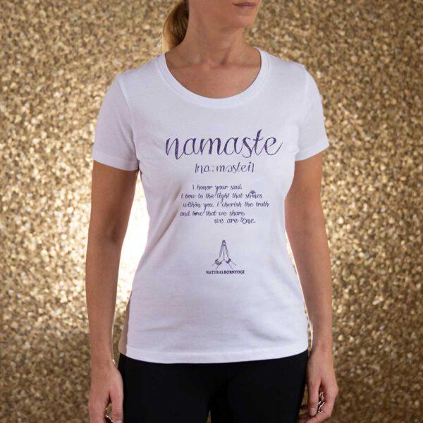 Yoga T-Shirt für Frauen mit Namaste Definition Aufdruck.
