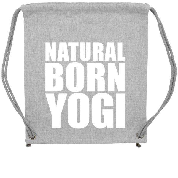Hellgrauer Sportbeutel mit Grafikprint Natural Born Yogi.