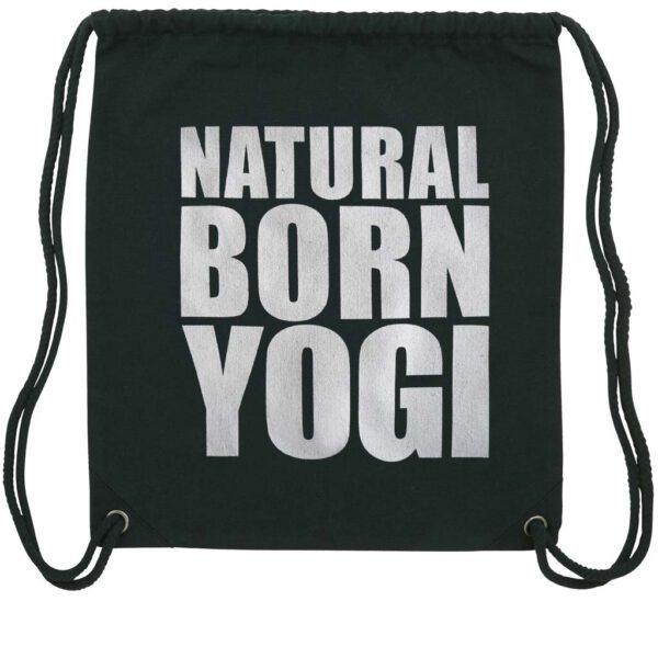 Yogaturnbeutel mit weißem Natural Born Yogi Aufdruck.