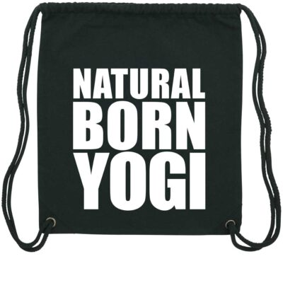 Schwarzen Sportbeutel mit grafischen Natural Born Yogi Aufdruck.