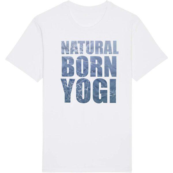 Weißes T-Shirt mit Natural Born Yogi Aufdruck