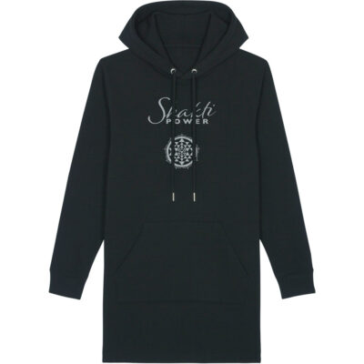 Schwarzes Hoodie Sweatshirtkleid mit Shakti Power Aufdruck.