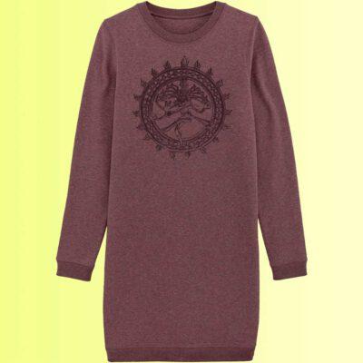 sweatshirt kleid mit yoga motiv shiva in berry organic für damen