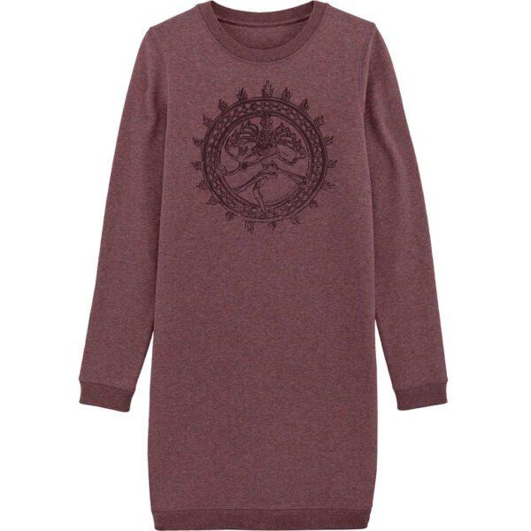Beerenfarbenes Sweatshirtkleid mit Aufdruck des Gottes Shiva.