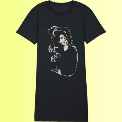schwarzes yoga shirt kleid mit yoga asana nachhaltig