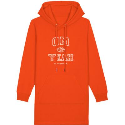 Damen Hoodiekleid in orange mit Aufdruck Om Yeah von Naturalbornyogi.