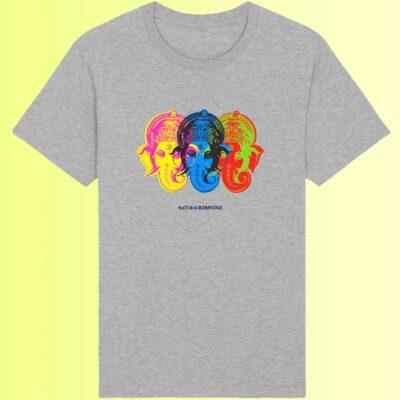graues yoga t-shirt mit ganesha aufdruck biobaumwolle
