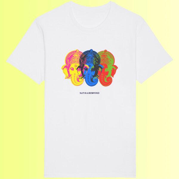 organic shirt in weiss mit yoga aufdruck vom elefantengott ganesha