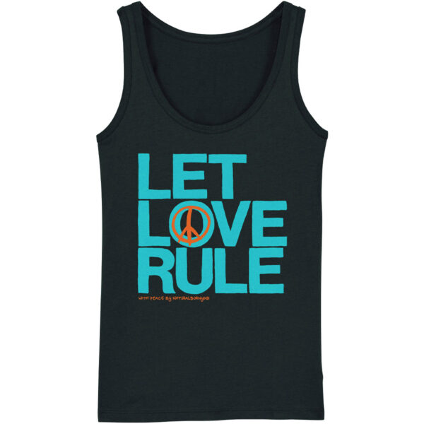 Damen Yoga-Tanktop in schwarz mit Let Love Rule Aufdruck