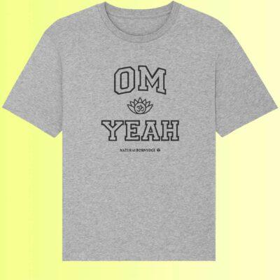 graues yoga shirt mit om aufdruck organic