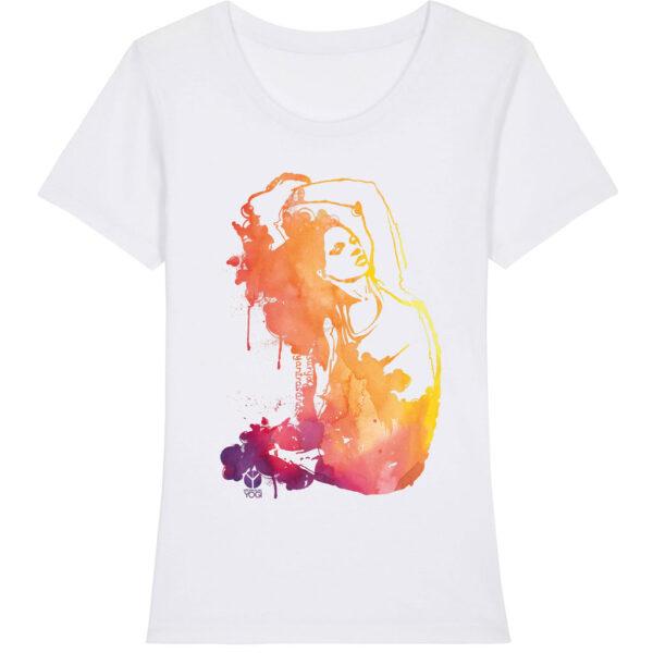 Weisses Damen Yoga Shirt mit farbigem Aufdruck der Surya Yantrasana von Natural Born Yogi.