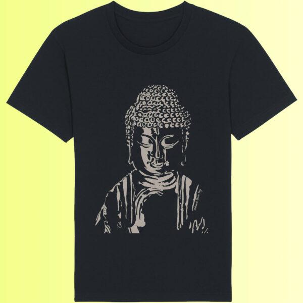 yoga top mit buddha aufdruck schwarz organic