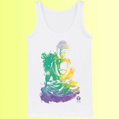yoga shirt mit aufdruck von farbigem buddha