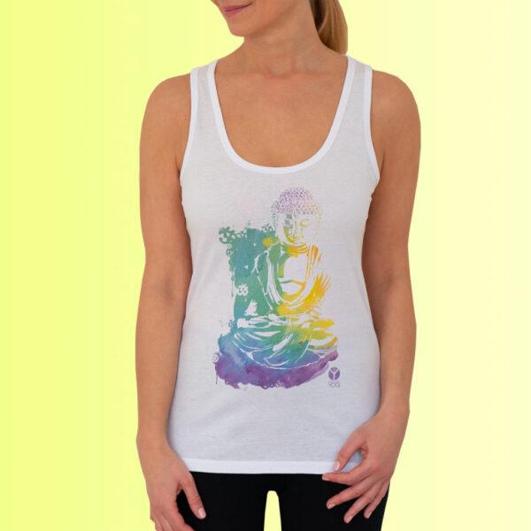 damen yoga tank shirt weiss mit buddha aufdruck von naturalbornyogi