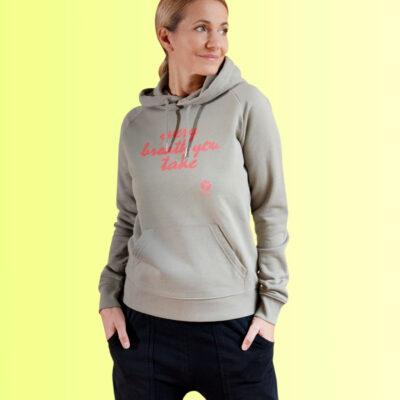 yoga hoodie khaki mit aufdruck für damen