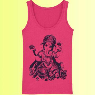 tank top yoga in pink mit aufdruck der gottheit ganesha