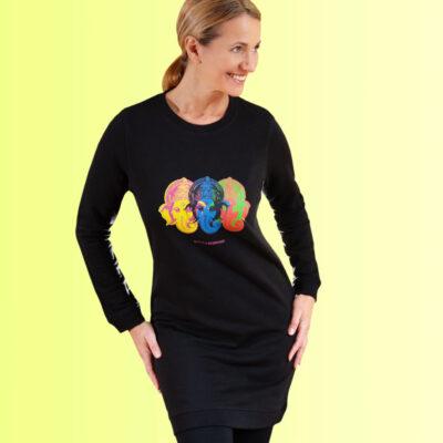 schwarzes sweatshirt kleid mit yoga aufdruck ganesha