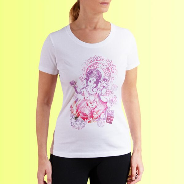 yoga shirt weiss mit ganesha aufdruck von naturalbornyogi
