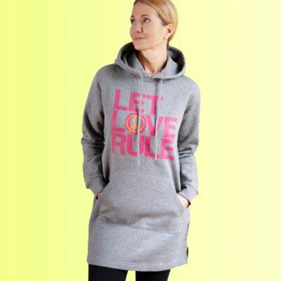 yoga sweatshirt hoodie kleid mit aufdruck love