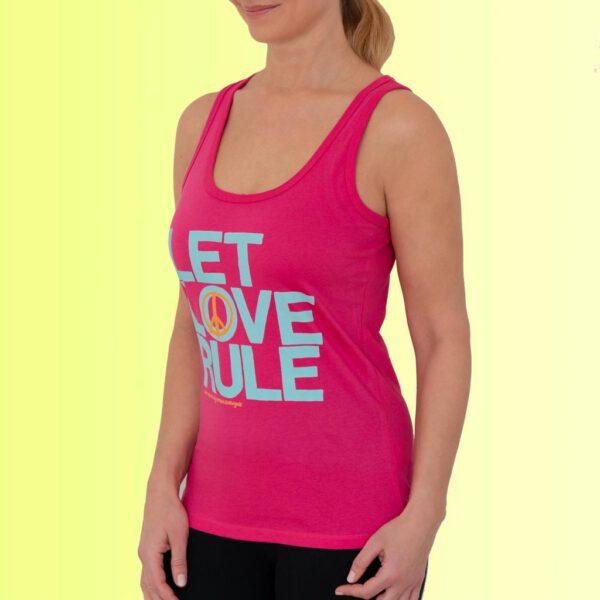 pinkes yoga tank top mit love aufdruck in hellblau