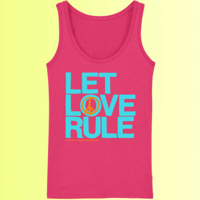 yoga shirt mit aufdruck für damen let love rule in pink