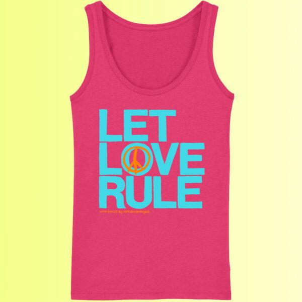 yoga shirt mit aufdruck für damen let love rule in pink