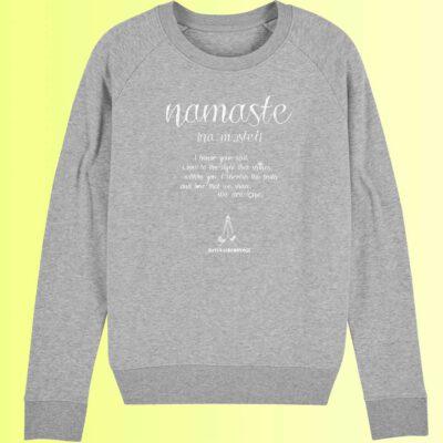 yoga sweatshirt in grau mit namaste aufdruck für frauen von natural born yogi