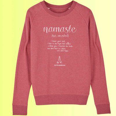 rosarotes sweatshirt organic mit yoga aufdruck namaste für damen