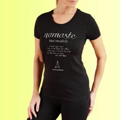 schwarzes yoga shirt mit namaste aufdruck