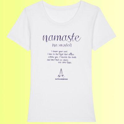namaste yoga shirt weiss für damen
