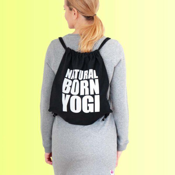schwarzes yoga gym bag mit Aufdruck natural born yogi