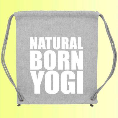 grauer yoga gym bag mit natural born yogi aufdruck