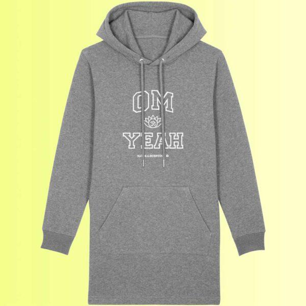 grauer yoga long hoodie mit om aufdruck