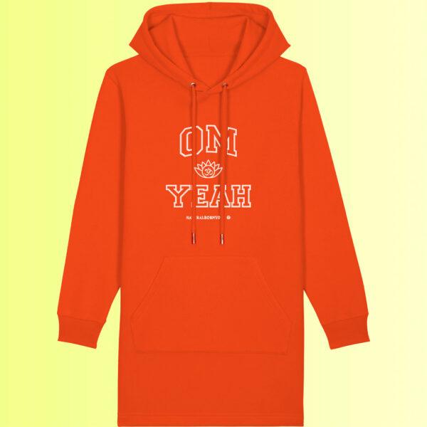 yoga hoodie kleid in orange aus nachhaltigem material
