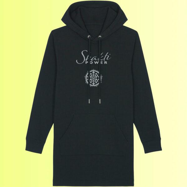 yoga hoodie kleid mit shakti und sri yantra aufdruck in schwarz für damen