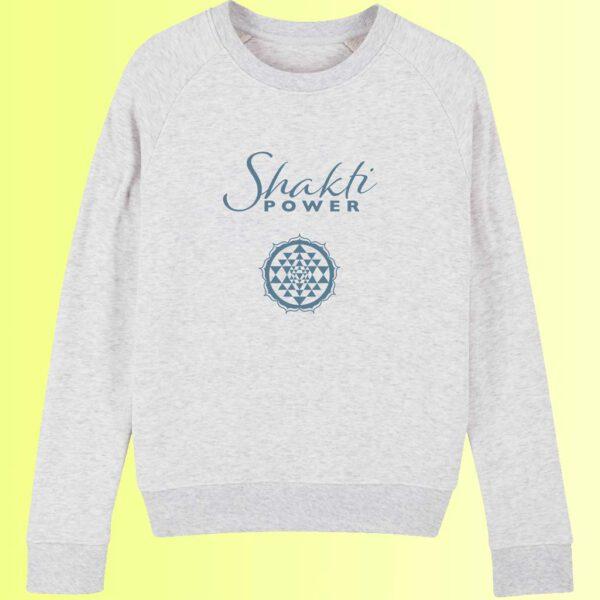 yoga sweatshirt in hellgrau mit shakti und sri yantra aufdruck für damen