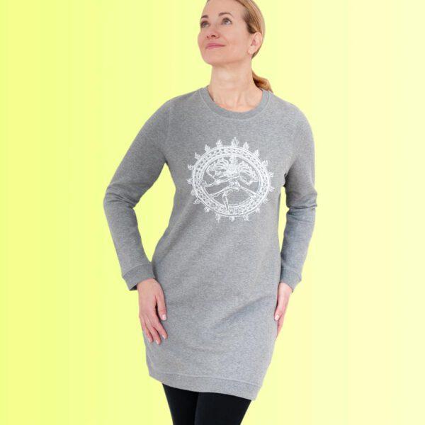 graues sweatshirt kleid mit shiva aufdruck von natural born yogi